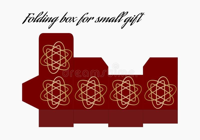 Складывая шаблон коробки, контейнер для небольшого подарка, шаблон с картинами печати в золоте и красный дизайн бесплатная иллюстрация