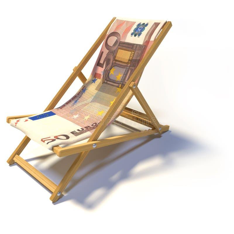 Складывая deckchair с евро 50 бесплатная иллюстрация
