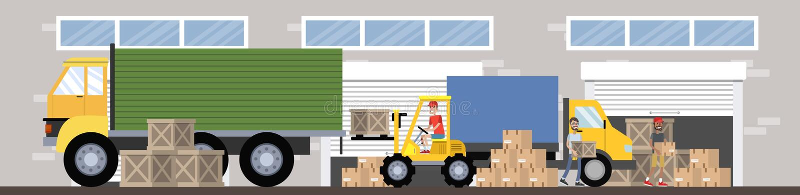 Склад или здание обслуживания поставки с illsutration тележки бесплатная иллюстрация