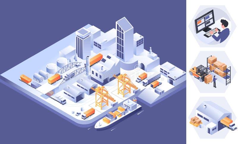 Склад логистический для вебсайта и мобильного вебсайта r Infographics снабжения равновеликое иллюстрация вектора