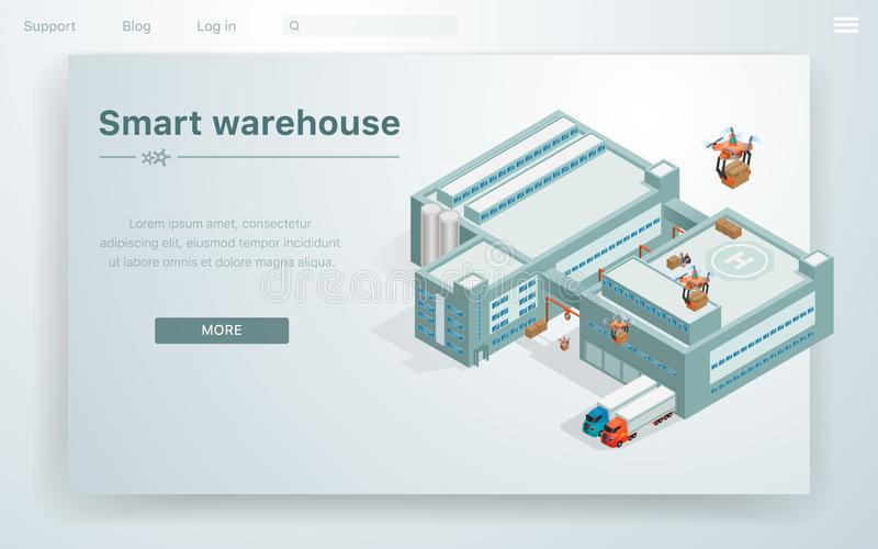 Склад плоской иллюстрации умный на огромном здании бесплатная иллюстрация