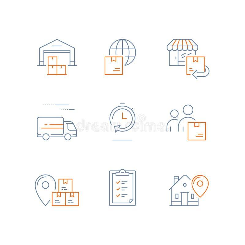 Склад распределения, быстрая поставка, схема поставок, глобальная доставка, возвращение заказа, компания снабжения, посылает паке иллюстрация вектора