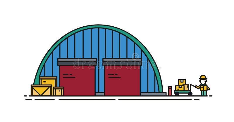 Склад с круглыми крышей, штарками ролика и работником с ручной вагонеткой Коммерчески здание для хранения товаров бесплатная иллюстрация