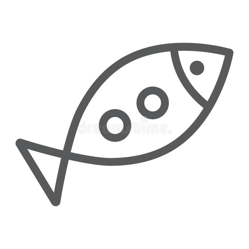 Склонная линия значок рыб, вероисповедание и животное, акватический знак еды, векторные графики, линейная картина на белой предпо иллюстрация вектора
