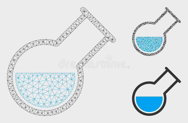 Склонный значок мозаики и треугольника каркасной модели сетки вектора реторты иллюстрация штока