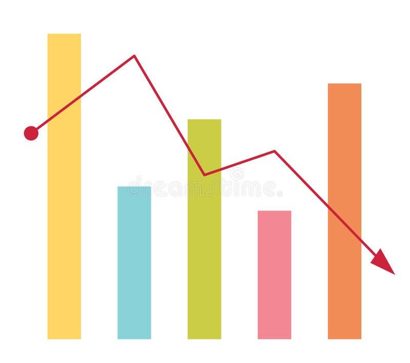 Склоняя диаграмма в виде вертикальных полос при стрелка идя вниз иллюстрация штока