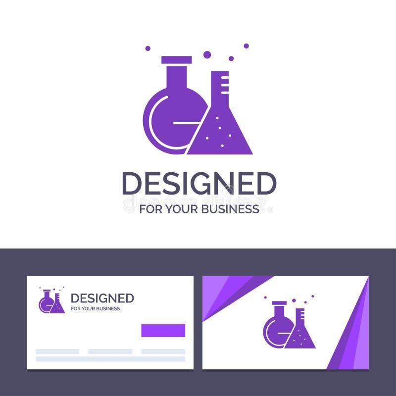 Склянка творческого шаблона визитной карточки и логотипа, лаборатория, трубка, иллюстрация вектора теста иллюстрация штока