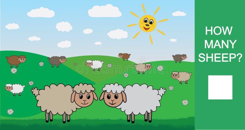 Сколько овец, подсчитывая игру для детей Учить номера, математика также вектор иллюстрации притяжки corel иллюстрация вектора