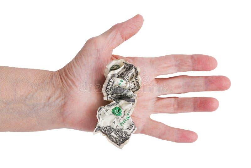 скомканная рука доллара его человек старый стоковое изображение