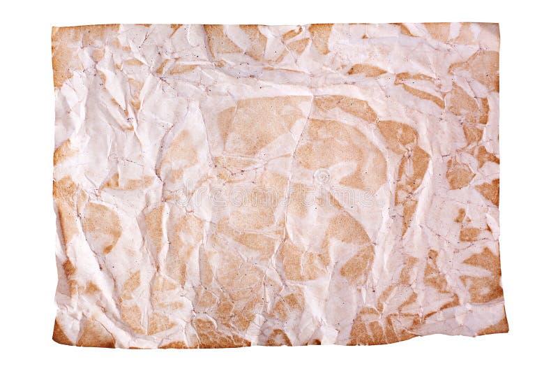 Скомканная старая коричневая бумага на белой предпосылке изолированной близко вверх с plase текста, сморщила грязный пустой лист  стоковое изображение rf