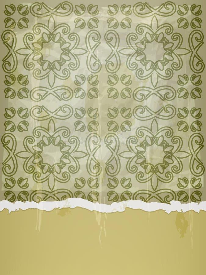скомканная флористическая бумажная картина иллюстрация вектора