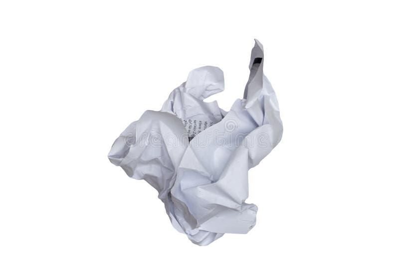 Скомканное бумажное на белой предпосылке - легкой для того чтобы отрезать вне стоковые фото