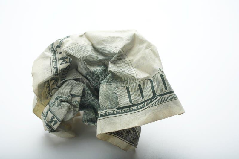 скомканный доллар 100 стоковое изображение rf