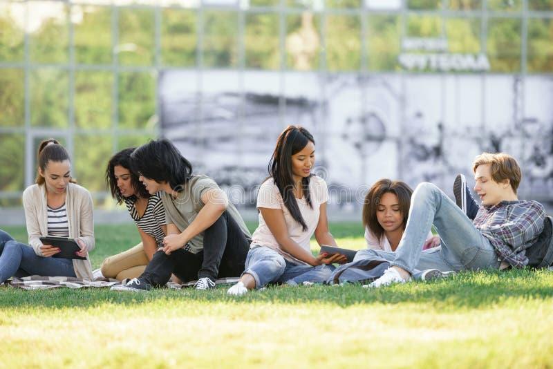 Сконцентрированные студенты изучая outdoors стоковые фото