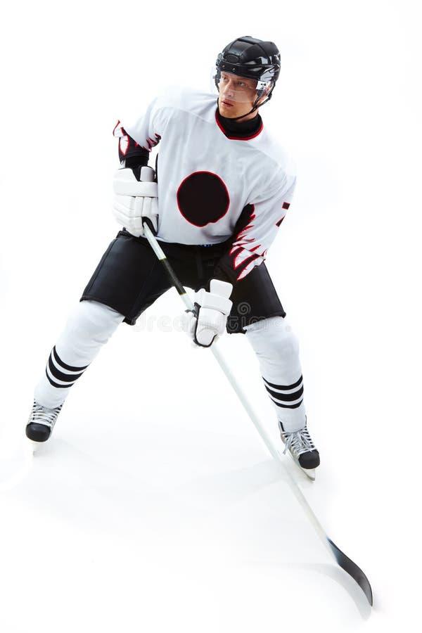 сконцентрированный игрок хоккея стоковые изображения rf