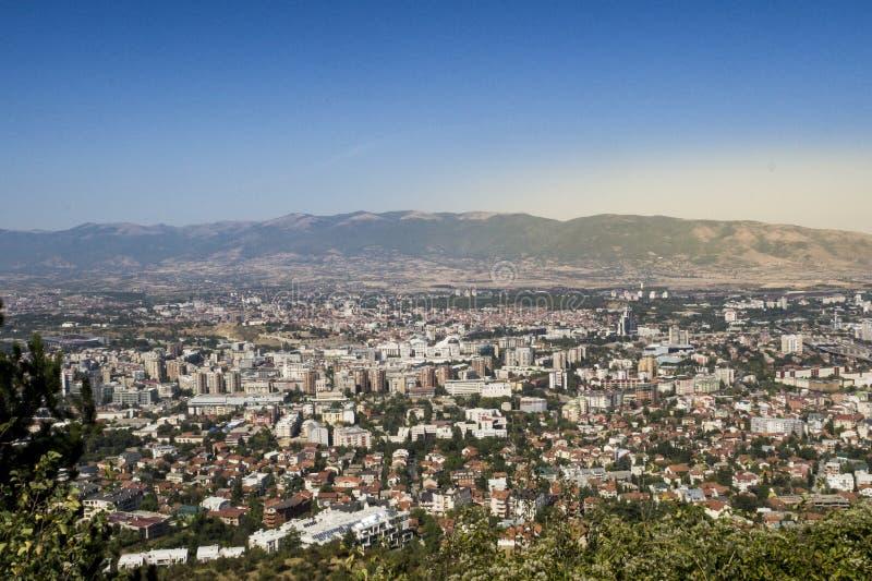 Скопье от взгляда Vodno панорамного стоковое фото rf