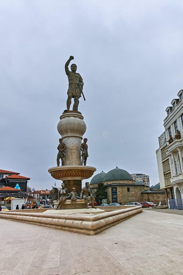 СКОПЬЕ, РЕСПУБЛИКА МАКЕДОНИЯ - 24-ОЕ ФЕВРАЛЯ 2018: Филипп II из памятника Macedon в скопье стоковые изображения
