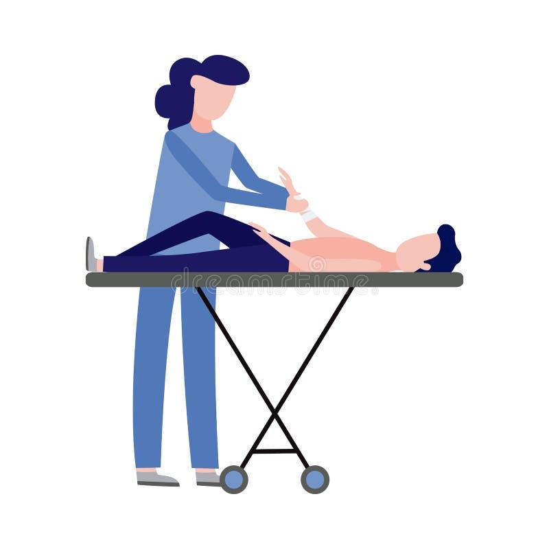 Скорая помощь вектора, аварийная медсестра и пациент иллюстрация штока