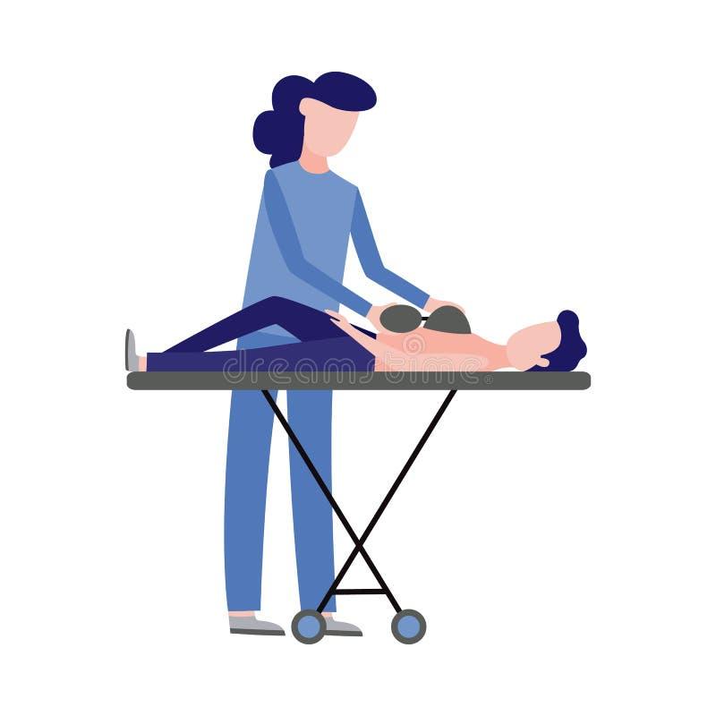 Скорая помощь вектора, аварийная медсестра и пациент иллюстрация вектора