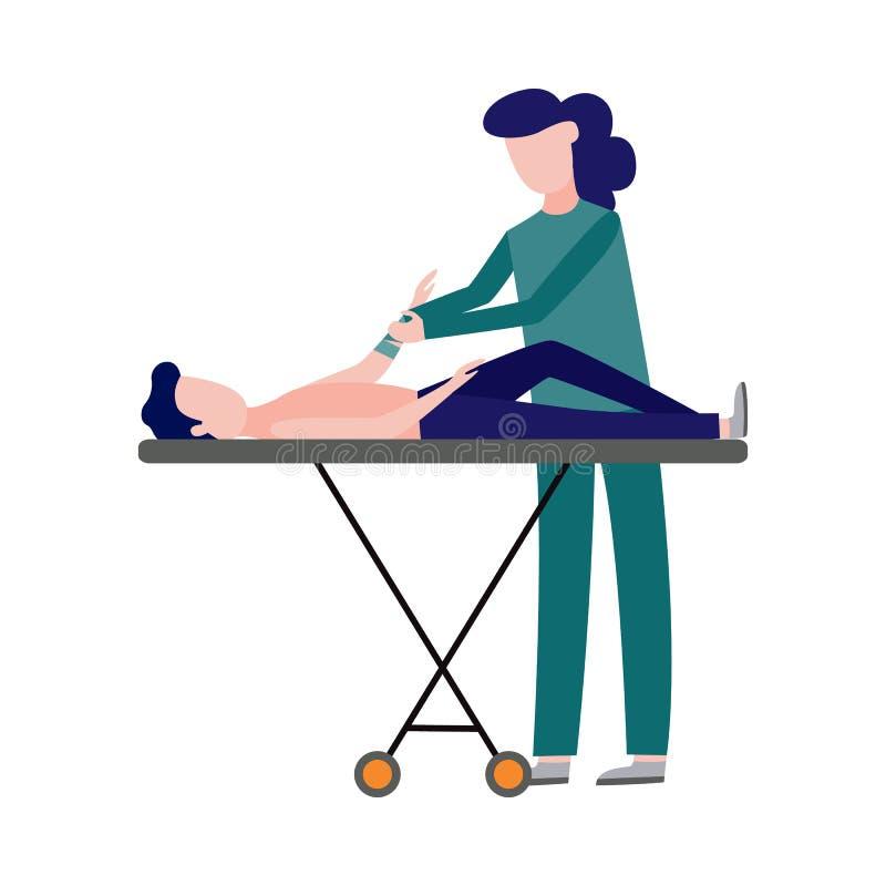Скорая помощь вектора, аварийная медсестра и пациент бесплатная иллюстрация