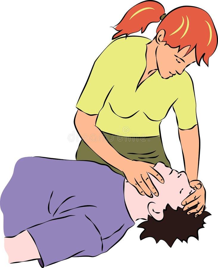 Скорая помощь - держать голову обморочной персоны иллюстрация вектора