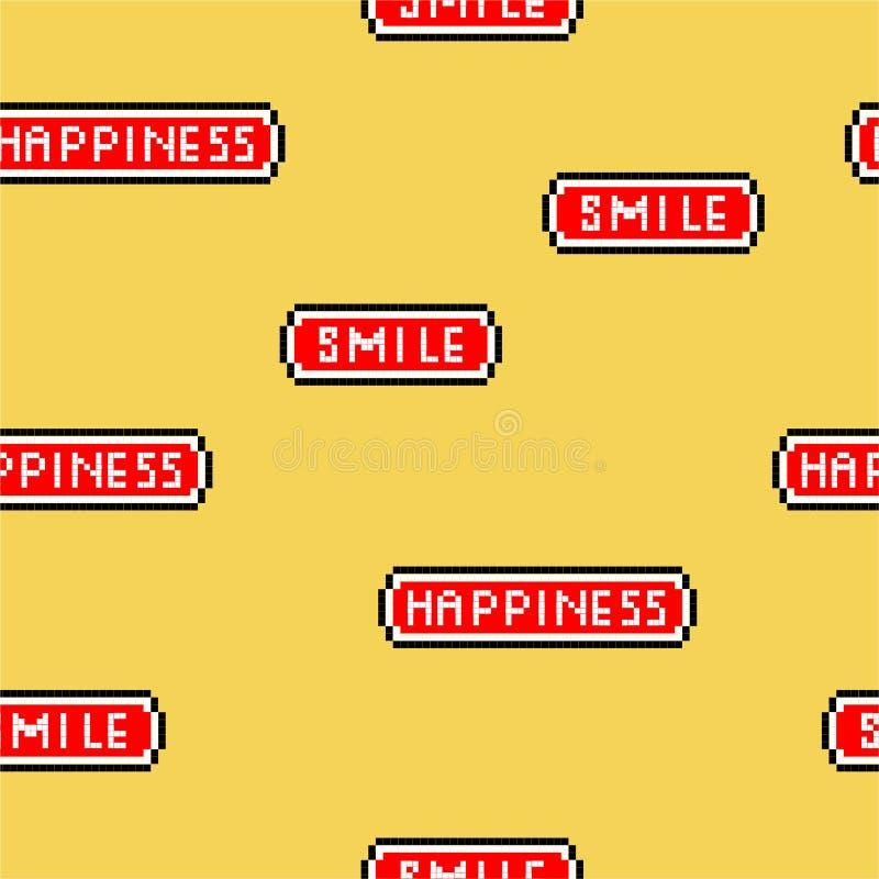 Скороговорка «счастье и улыбка» иллюстрации вектора безшовная формулируя в шрифте видеоигры 8 пиксела сдержанном ретро stylen, ко бесплатная иллюстрация