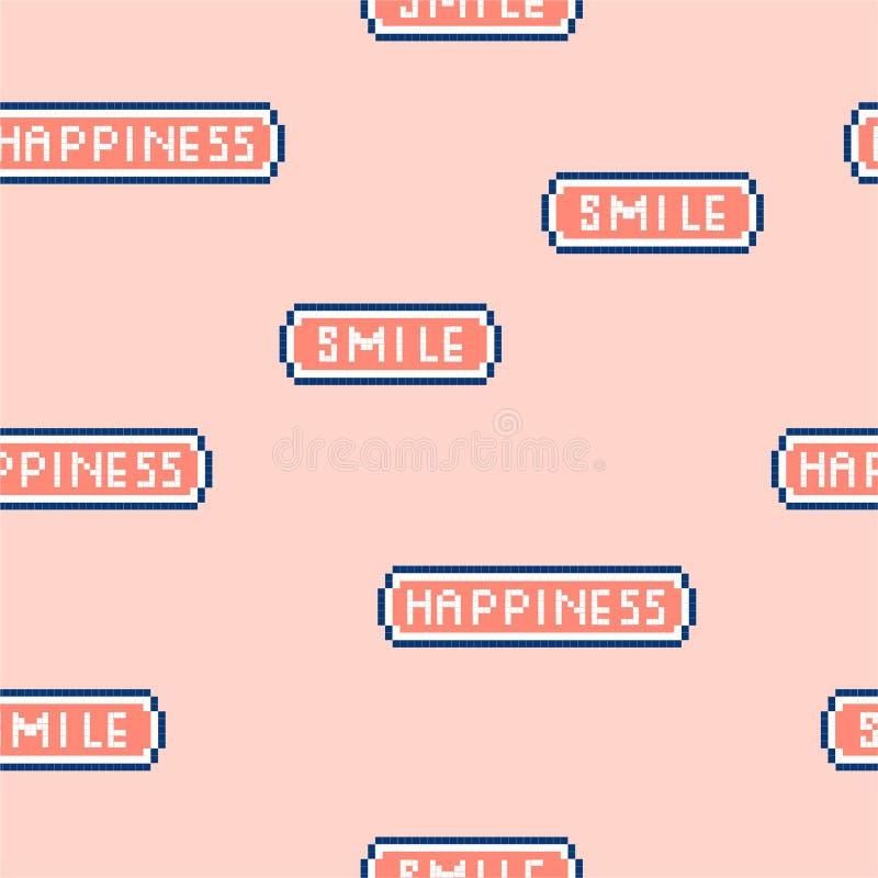 Скороговорка «счастье и улыбка» милой и пастельной иллюстрации вектора безшовная формулируя в шрифте видеоигры 8 пиксела сдержанн бесплатная иллюстрация