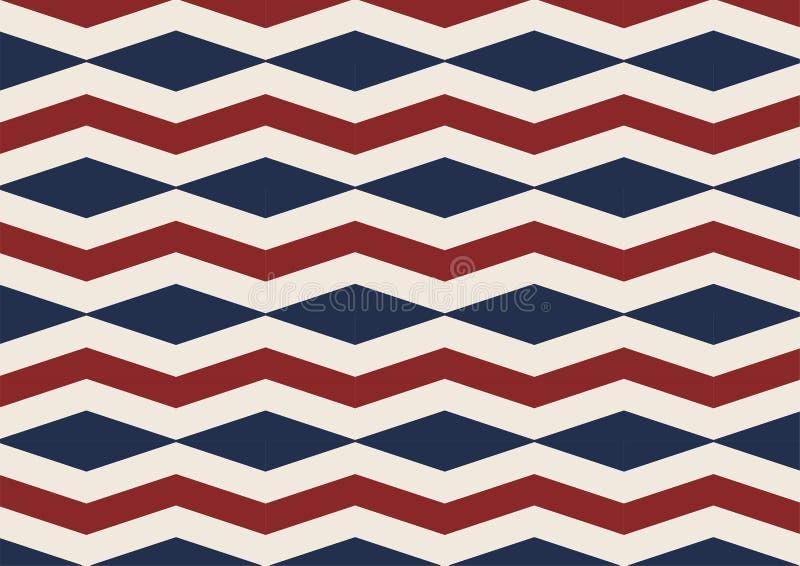 Скороговорка красного цвета государственного флага США диаманта Шеврона, белых и голубых безшовная иллюстрация штока