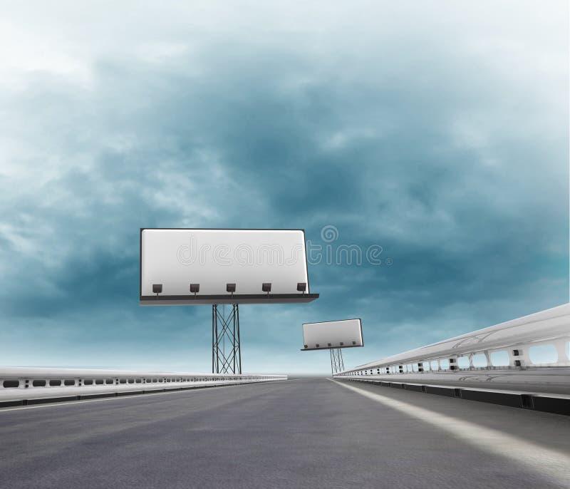 Скоростная дорога с 2 афишами afar с небом иллюстрация вектора