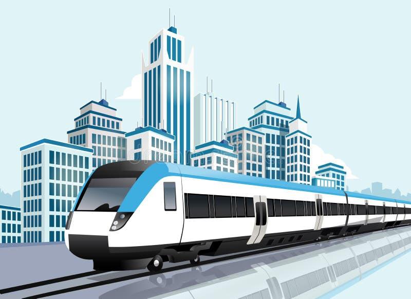 Скоростное метро проходя перед современным городом иллюстрация вектора