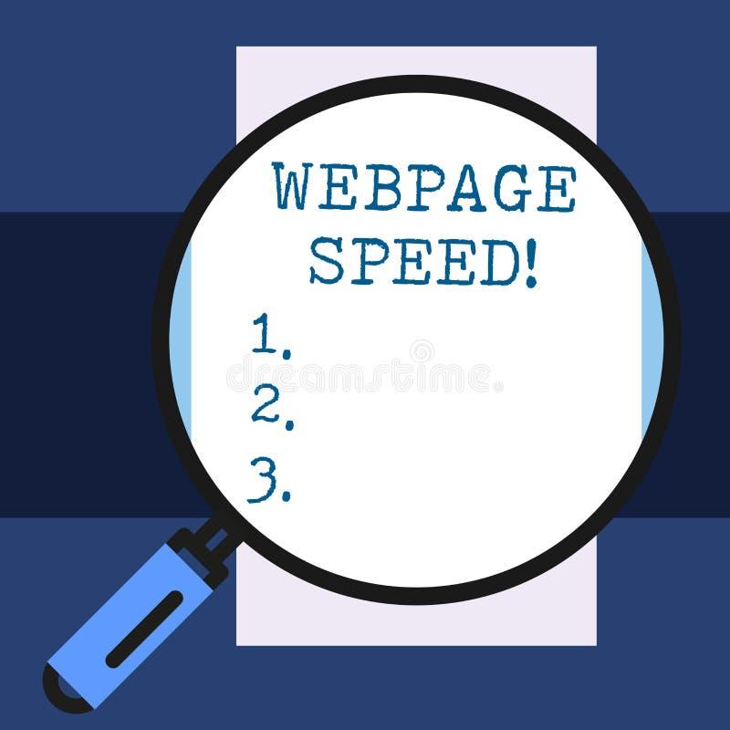 Скорость Веб-страницы показа знака текста Схематическое фото как быстро потребители могут увидеть и взаимодействовать с содержани иллюстрация вектора