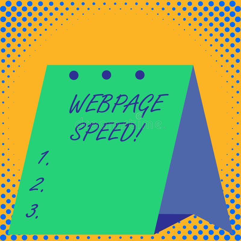 Скорость Веб-страницы текста почерка Концепция знача как быстро потребители могут увидеть и взаимодействовать с содержанием бесплатная иллюстрация
