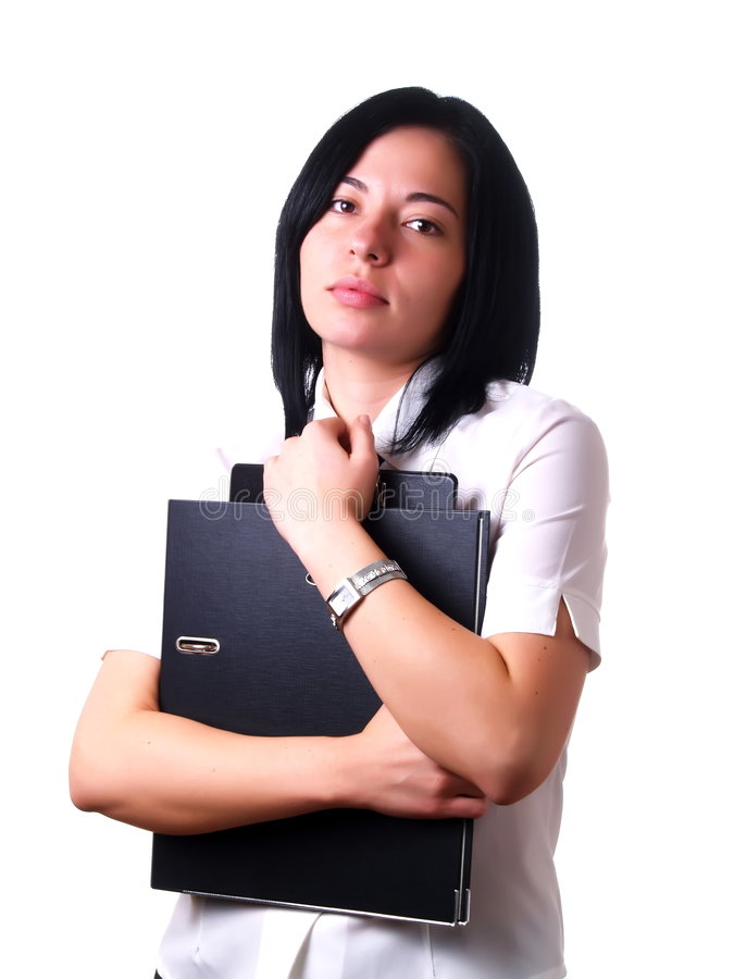 скоросшиватели держа работу женщины стоковое изображение rf