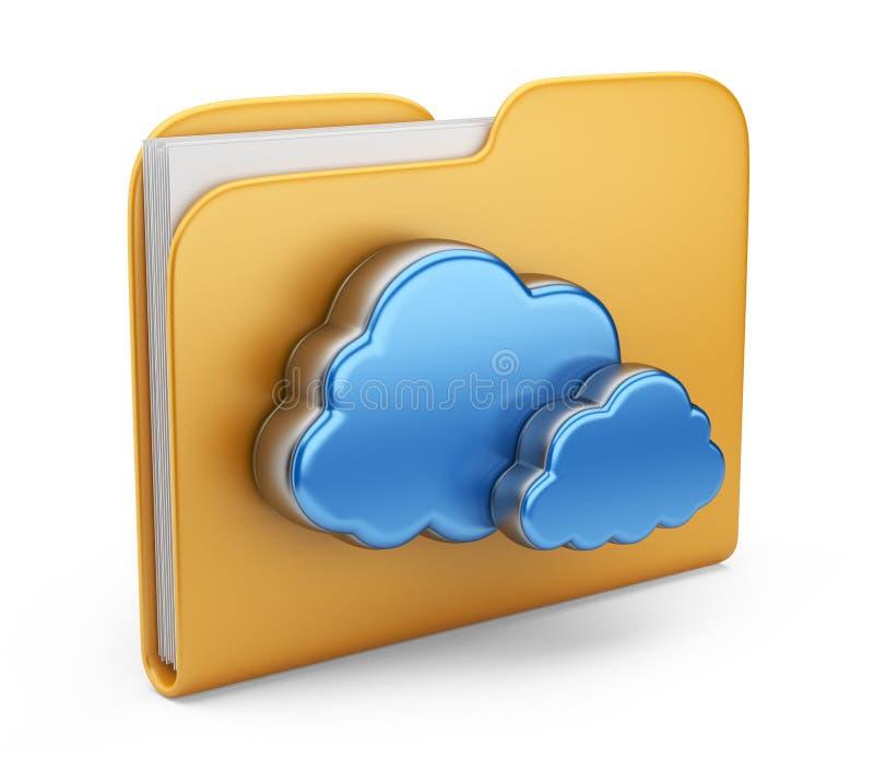 Скоросшиватель и облако. изолированная икона 3D иллюстрация штока