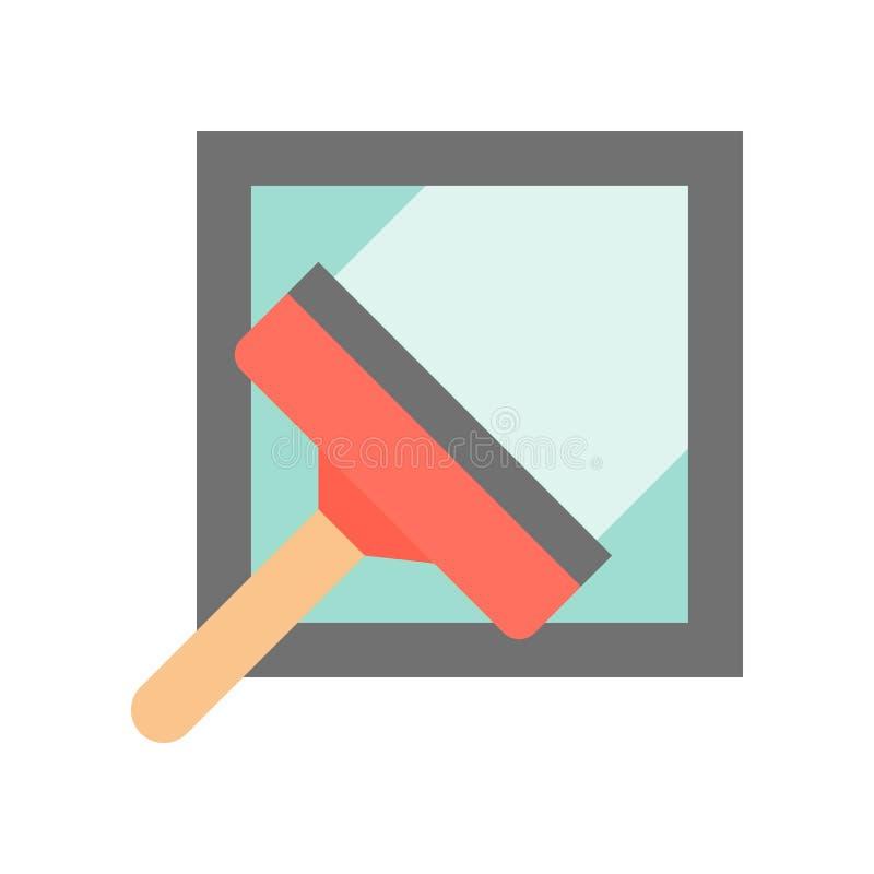 Скребок и окно, чистка и связанное прачечной плоско I иллюстрация вектора