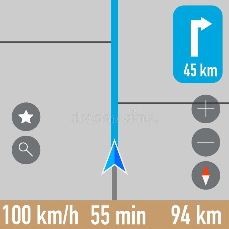 Скриншот навигатора Gps активного маршрута иллюстрация штока