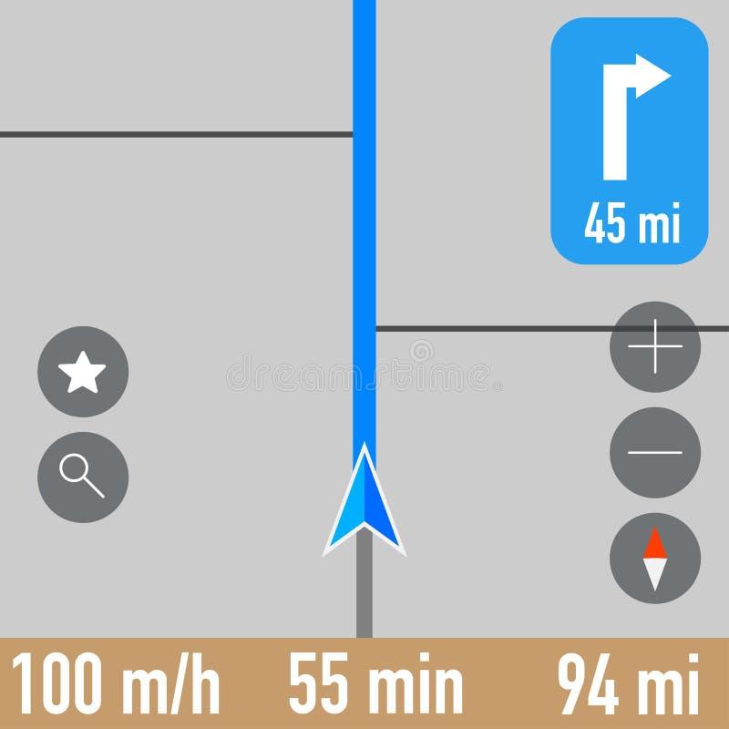 Скриншот навигатора Gps активного маршрута иллюстрация вектора