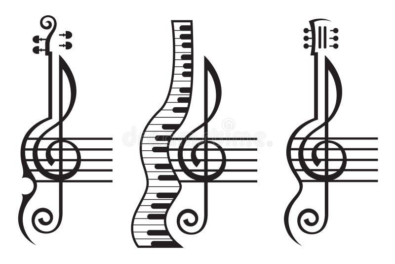 Скрипка, гитара, рояль и дискантовый ключ иллюстрация штока