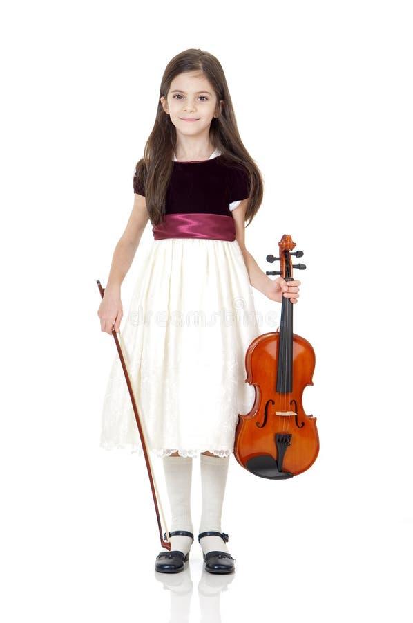 скрипка девушки счастливая стоковое фото rf