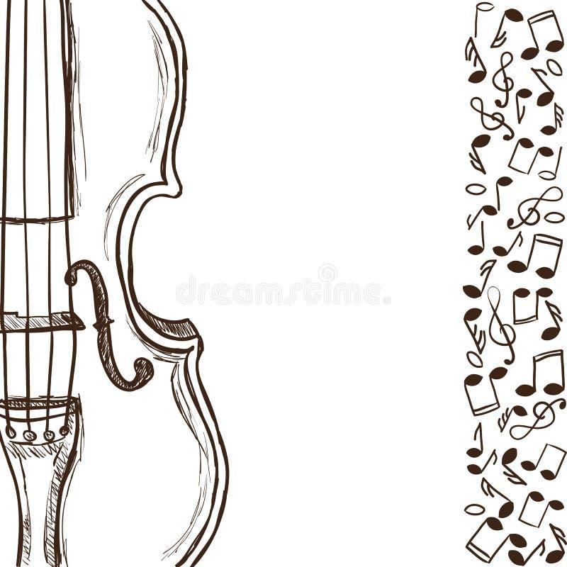 Скрипка или бас и примечания нот иллюстрация штока