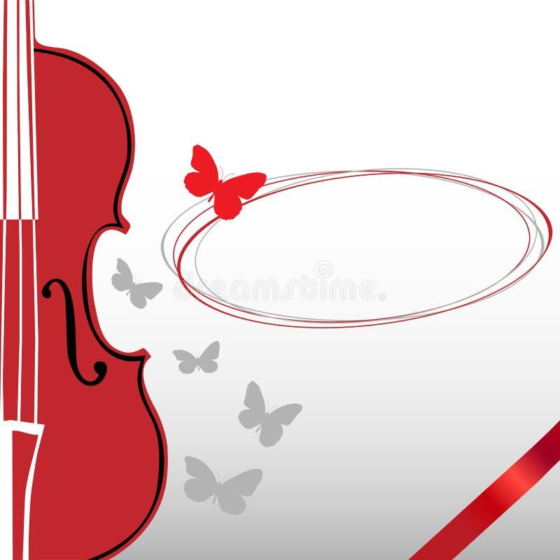 Скрипка и бабочка иллюстрация штока