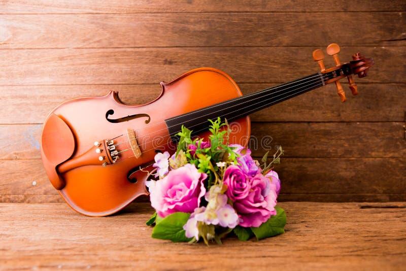 Скрипка и цветок стоковое изображение rf