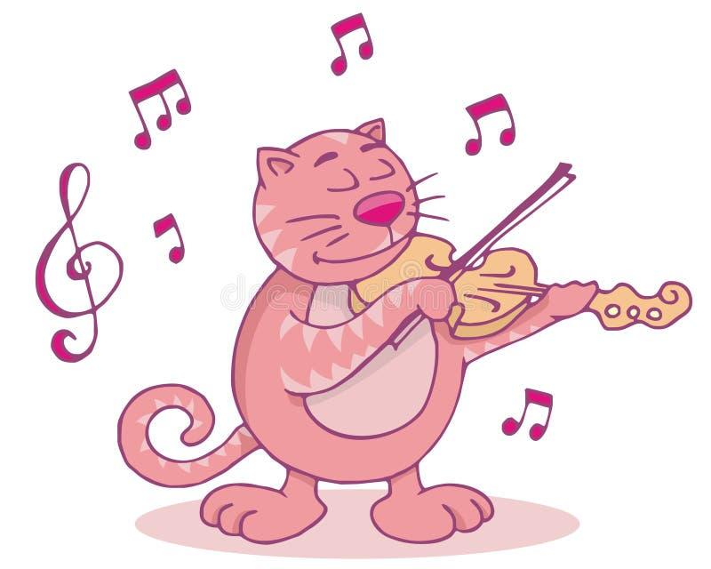 скрипка кота розовая иллюстрация вектора