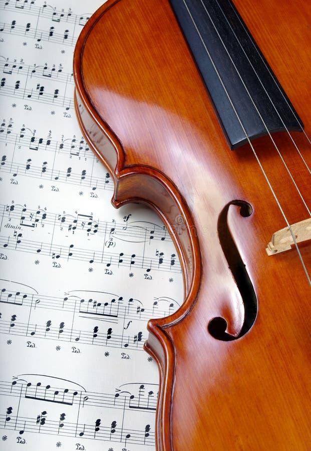 скрипка листа нот конец вверх Взгляд сверху стоковые изображения