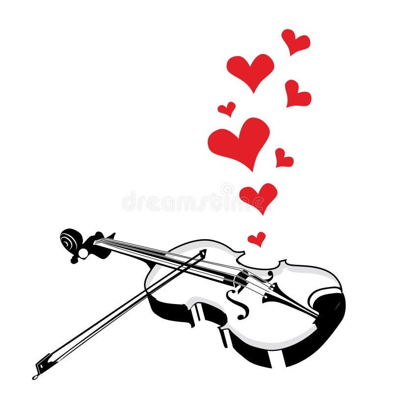 Скрипка музыки влюбленности сердца играя песню бесплатная иллюстрация