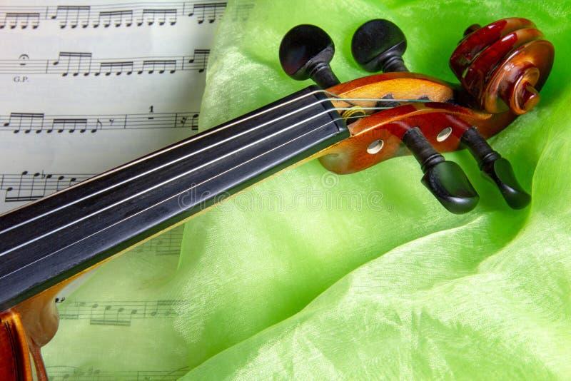 Скрипка на зеленом шелке - натюрморте стоковое изображение rf