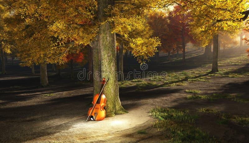 скрипка парка осени иллюстрация вектора