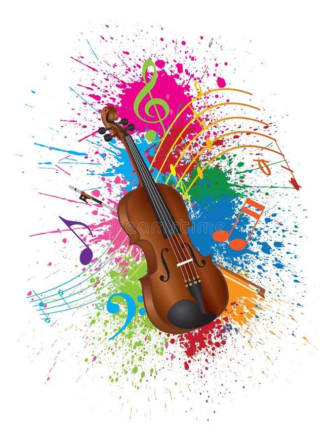 Скрипка с иллюстрацией Splatter краски смычка иллюстрация вектора