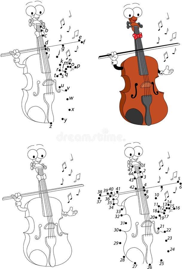 Книжка-раскраска скрипки шаржа Иллюстрация вектора ...