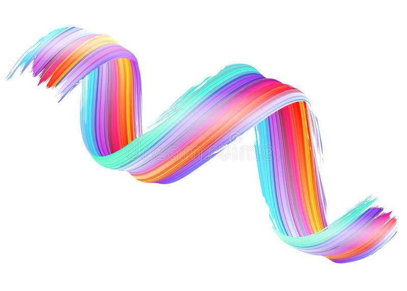 Скручиваемость краски вектора 3D Абстрактный спиральный ход щетки иллюстрация штока